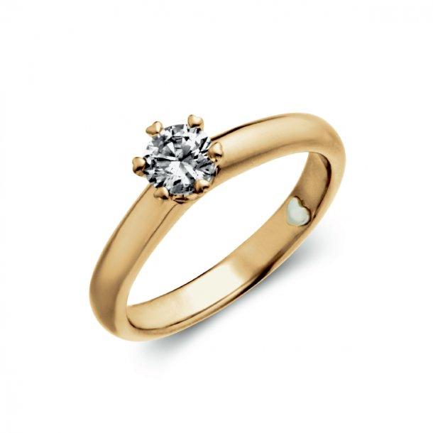 Precious ring, 14kt rødguld med 0,40ct brillant