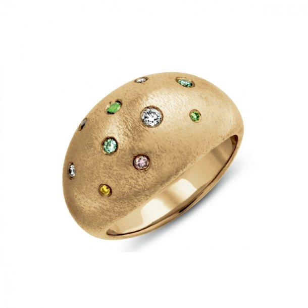 Serenity ring, 14kt guld med farvede brillanter - unika design