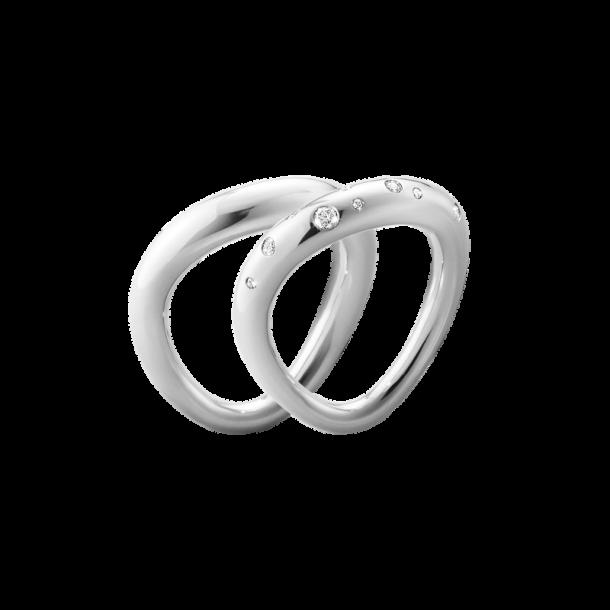 Georg Jensen Offspring ringkombination, sterlingsølv med brill.
