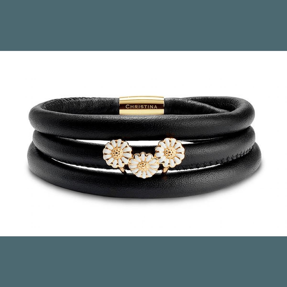 Christina Jewelry & Watches kampagne læderarmbånd inkl. forgyldt marguerit-charm - Christina ...